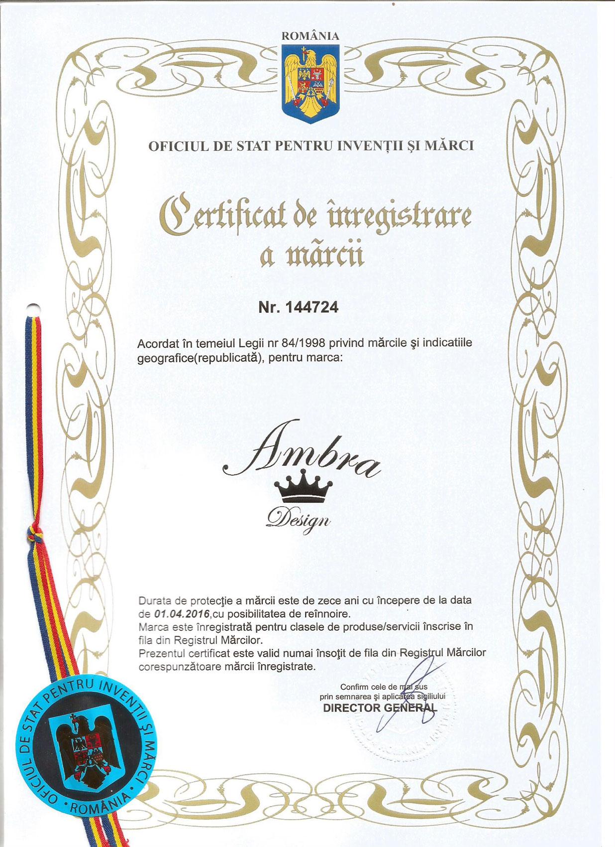 Ambra Design - Certificare