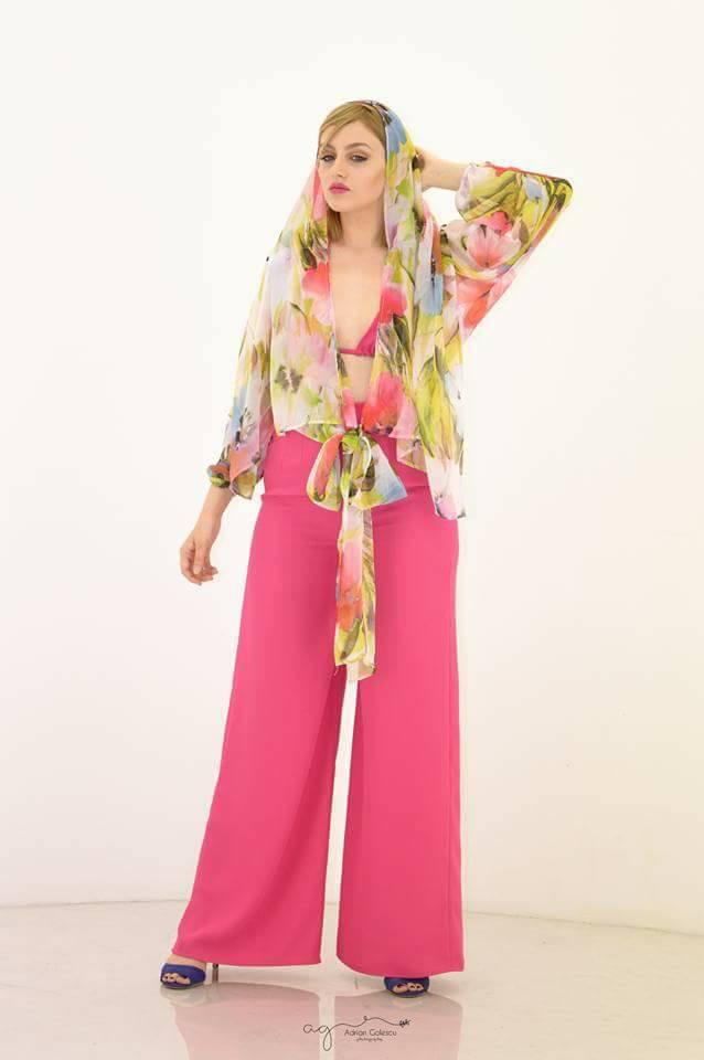 Sunshine - Pantalon roz cu camasa
